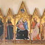 Ottaviano Nelli, Madonna con Bambino, Trinita', santi, Cherubini. 1403. Tempera su tavola Musiculturaonline