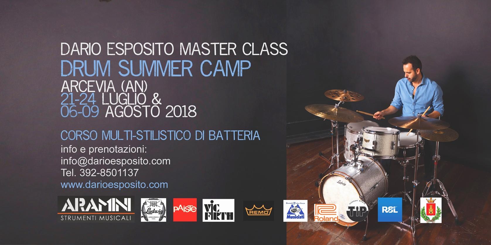 """""""DRUM SUMMER CAMP"""" Masterclass di Batteria con Dario Esposito ad Arcevia"""