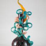 Dale CHIHULY- scultura in vetro soffiato con applicazioni di foglie e nastri serie VENETIAN Musiculturaonline